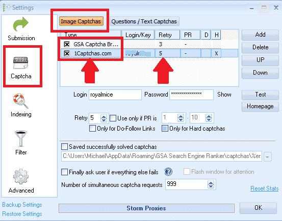 GSA Search Engine Ranker Recaptcha Solving settings