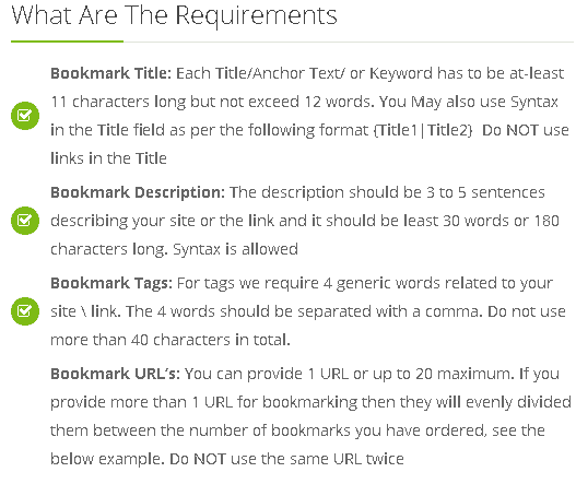 Social Bookmarking service requirements