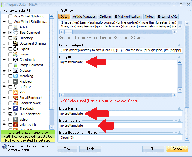 GSA Search Engine Ranker Project Template - sample 2