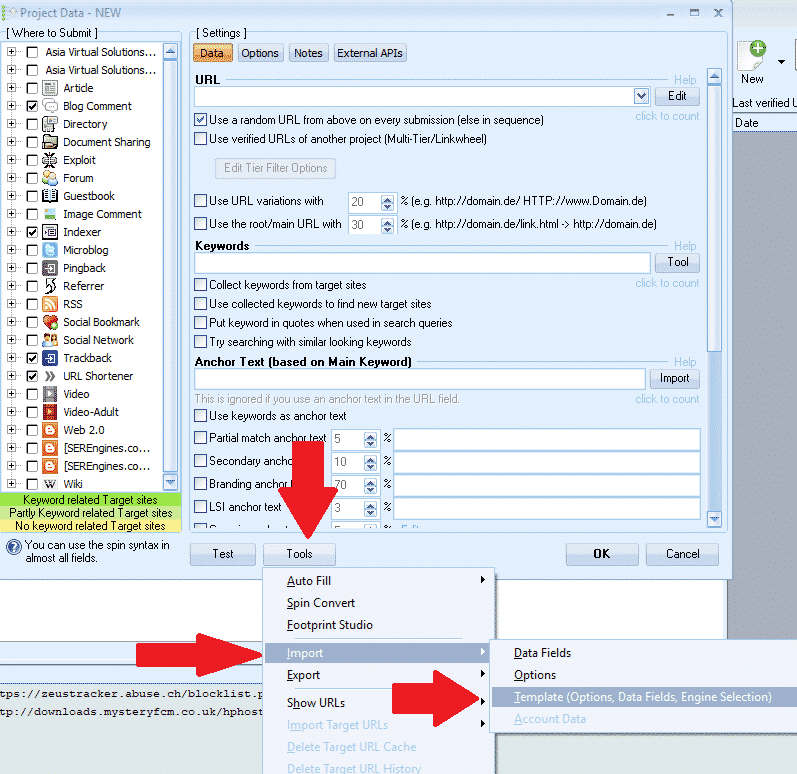 How to Create a GSA Search Engine Ranker Project Template - Import template