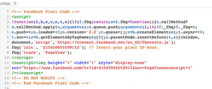 Install Facebook Pixel Code manually