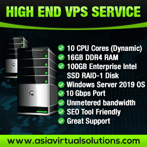 High End VPS Service -2019 - 300 x 300 Banner