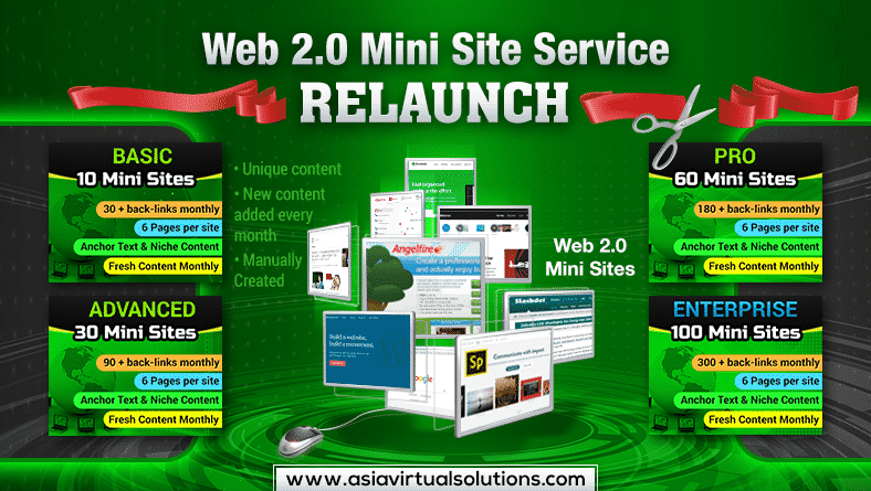 Web 2.0 Back-links upgraded to be Web 2.0 Mini Site Service