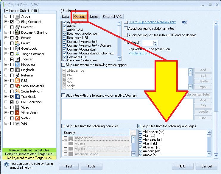 GSA Search Engine Ranker - Skip sites by language