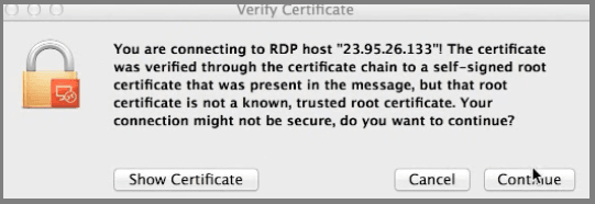 MAC - Remote Desktop - Launch the VPS
