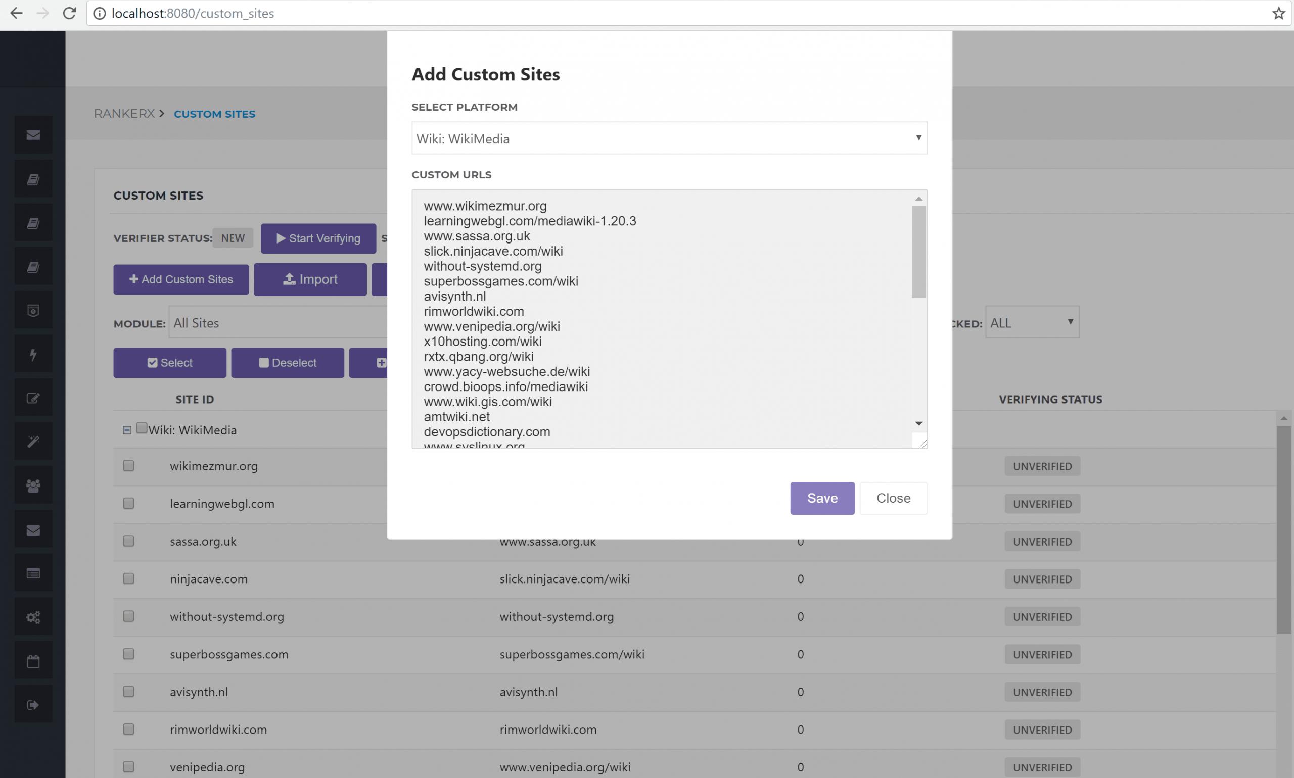 Adding Custom Sites to RankerX